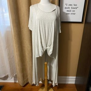 Ladies short sleeve cardigan with attached top